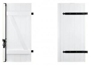 barres et echarpes 300x219 Modèles de volets battants pleins à lames verticales